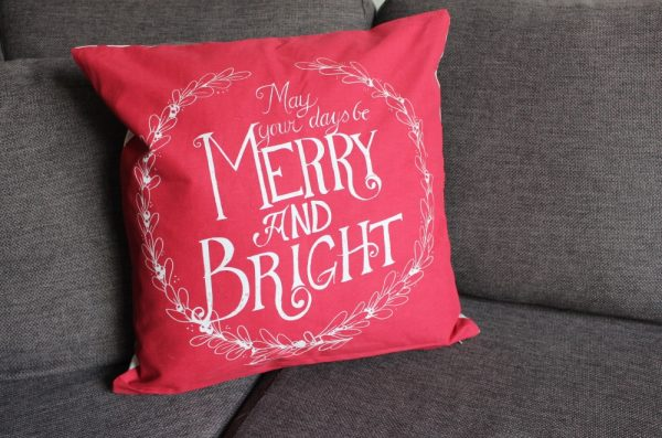 Merry and Bright kerst kussen 50x50