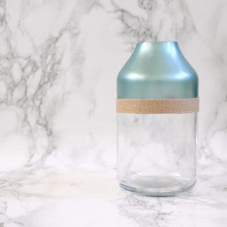 Kleine blauwe vaas metallic