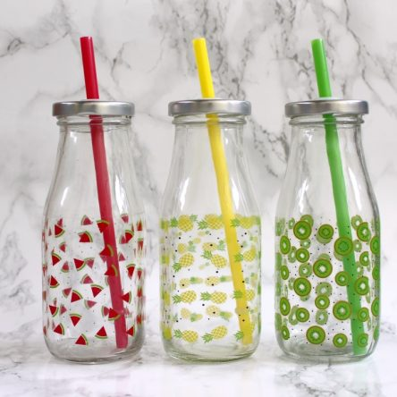 Retro drinkflesje met fruit print