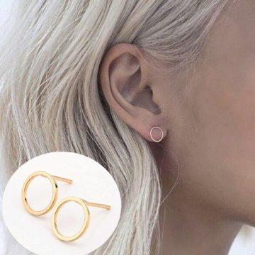 Minimalistische cirkel oorbellen zilver/goud