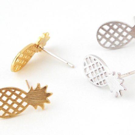 Ananas oorbellen goud/zilver