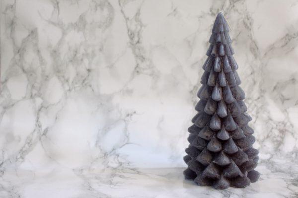 Kerstboom kaars donkergrijs